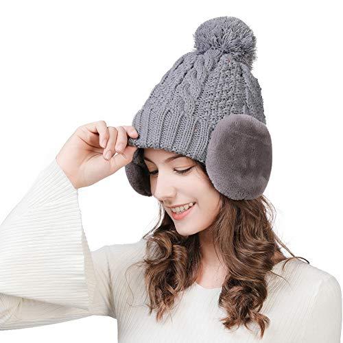 ニット帽 耳あて付きキャップ ニットキャップ レディース スキー 帽子 スノボ帽子 小顔効果 防寒 ...