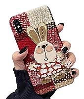 iPhone X/Xs と互換性のあるテキスタイルケース、TPUファブリックハードバックカバースリムフィット薄型ラッキー軽量保護電話ケース (iPhone X/Xs, 赤いウサギ)