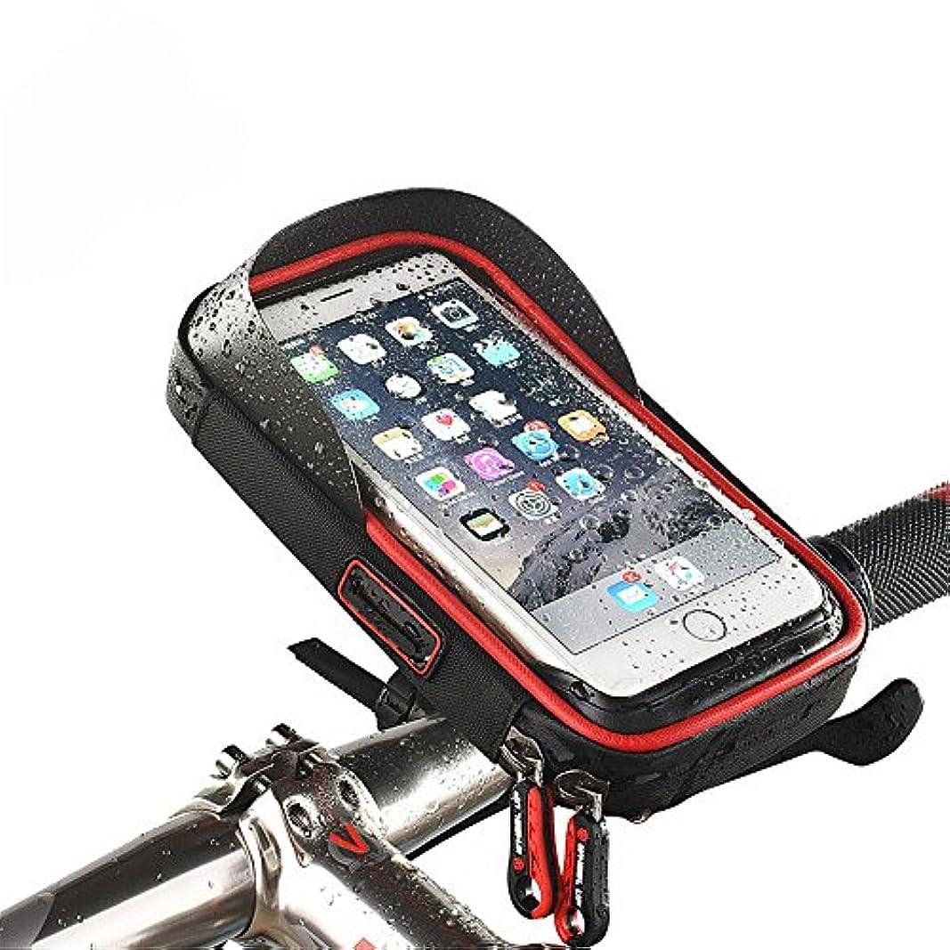 ダーツ幅胸自転車フロントフレームバッグサイクリング防水トップチューブフレームパニエ携帯電話タッチスクリーンホルダー自転車バッグは、6.0インチ以下の携帯電話に適合 (色 : ブラック)