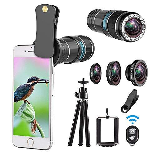 スマホレンズ 12X光学望遠レンズキット、4点セット(三脚、リモートシャッター付き)、12X望遠レンズ+180°魚眼+0.65X広角+マクロ、 iPhoneXS Max/XS/XR/X/8/8 plus/7/7 Plus/6/6S、Xperia、Samsung、Huaweiなどに対応、クリップ式レンズ