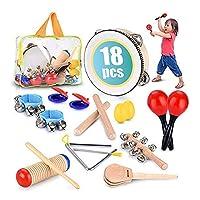 子供の教育パーカッションセット、子供の幼児教育音楽玩具組み合わせ男の子と女の子の収納バッグ付き18セット