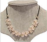 (ボヌール)BONHEUR レディース ネックレス アクセサリー きれい かわいい フラワー 花柄 ピンク シンプル かわひも 革 ひも