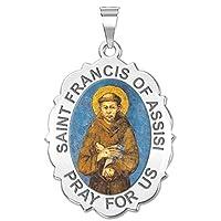 Saint Francis of Assisi Scalloped Oval Religious Medal 14K黄色またはホワイトゴールド、またはスターリングシルバー シルバー