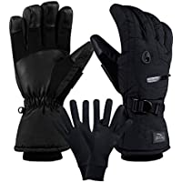 camyod防水スキースノーボードグローブ3 Mシンサレート、ジッパーポケット、Air Vent, Cold Weather Gloves for Men