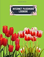 internet password logbook: 8.5x11 cute internet password book | cool internet password logbook paper with page numbers | internet password logbook | internet password notebook journal paper | tulip flower plant nature lime color