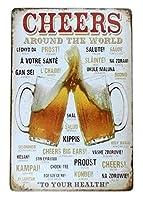 インテリア ブリキ看板 ヴィンテージ風 アメリカン雑貨 CHEERS 乾杯 ビール