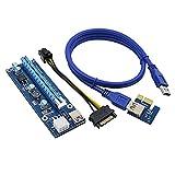 PCI-E ライザーカード PCI-E Express 1x 16x グラフィックカード アダプター 006C型 USB3.0ケーブル SATA 15ピン 6ピン 電源ケーブル ビットコイン採掘 riser-card vivostec