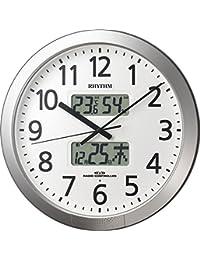 リズム時計 掛け時計 電波 アナログ プログラム カレンダー 404SR 【 36回 プログラム チャイム 機能 】 オフィス タイプ 銀色 RHYTHM 4FN404SR19