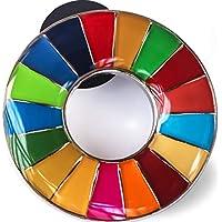 SDGs ピンバッジ SDGs バッジ 国連バッヂ (10個セット)表面が丸みのあるタイプ 襟章 国連本部 2個セット 正規品 SDGsピンバッジの留め具デラックス クラッチ30個付