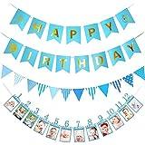 loloajoyブルーSmile Happy誕生日バナー三角形フラグバナー1 – 12月PhotoバナーMonthly写真壁子供誕生日ギフトデコレーション