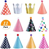 SelfTek 9誕生日PARTY Cone Hats With Pom Poms and 2 Crowns for Children and大人用