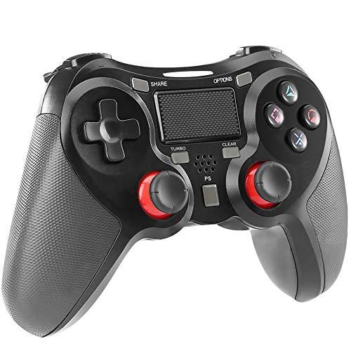 ps4 コントローラー PS4 Pro/Slim PC対応 HD振動 連射 ゲームパッド ゲームコントローラー USB イヤホンジャック スピーカー内蔵 6軸センサー 高耐久ボタン ブラックの商品写真