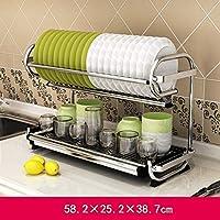 食器ラック304ステンレススチール多機能の壁に取り付け可能な二重層キッチン用品ラック58.2 * 25.2 * 38.7 cm (色 : A)
