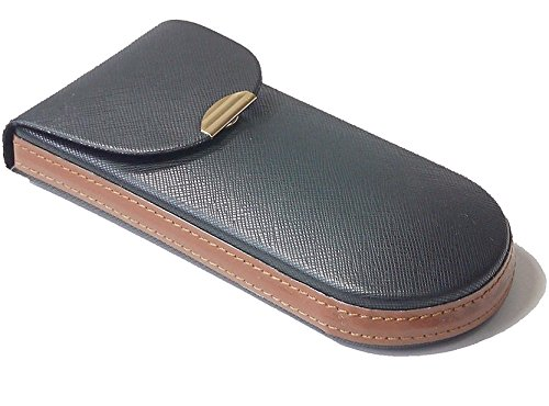 携帯に優れた 薄型 メガネケース ブラック 2802-01