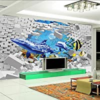 Lixiaoer カスタム写真の壁紙3D立体アートリビングルームテレビの背景壁クジライルカ壊れた壁大きな壁絵画-280X200Cm