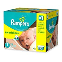 Super-Stretchy Sides, Soft, Size 1 Disposable Diapers With Wetness Indicator, (216-Count) by Pampers