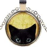 ヨーロッパ アンティーク ネックレス かわいい 黒猫 おしゃれ (シルバー)
