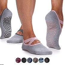Gaiam Yoga Barre Socks - Non Slip Sticky Toe Grip Accessories for Women & Men