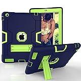 iPad 2 3 4 Case HAOCOO [Youth Series] [Hot Fashion Colors] Three Layer Armor Defender Shockproof Rugged Hybrid Kickstand iPad 2 3 4 Protective Case (NavyBlue+Olivine) [並行輸入品]