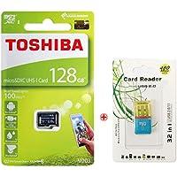 東芝 microSDXCカード 128GB Class10 UHS-I U1 対応 スマホ カメラ向け + USB2.0マイクロSDリーダーとPVCポーチ付き [並行輸入品]Toshiba THN-M203K1280C4 (最大読出速度100MB/s) (128GB)