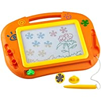 Buyus [Travel Size] Color Magnetic Drawing Board for Kids/Toddlers/Babies with 2 Stamps and 1 Pen - Also Named Mini Imaginarium Magic Magical Doodle/Scribble/Writing/Draft/Sketch Tablet Pad (Orange) [並行輸入品]