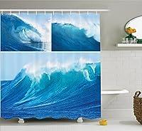 アパートインテリアシャワーカーテンセットby Ambesonne、コラージュのGiant Sea Wave写真Refreshingダイビング、サーフィンライフスタイルレジャーコンセプトアート、バスルームアクセサリー、75インチ長、ブルー