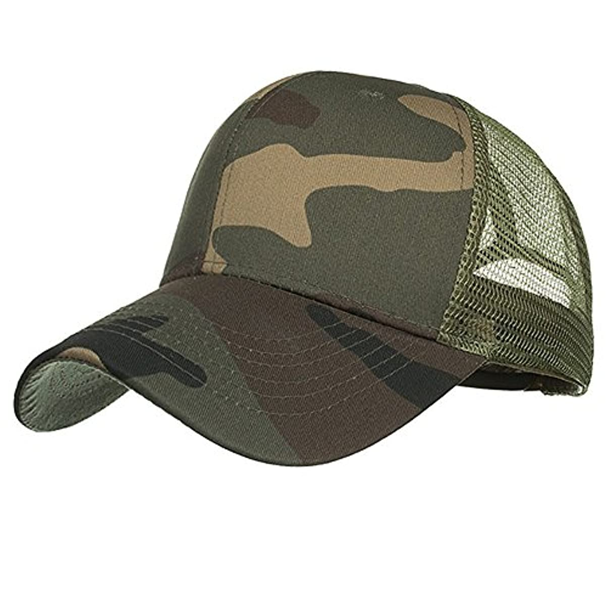 貧困生産的恒久的Racazing Cap 迷彩 野球帽 メッシュステッチ 通気性のある 帽子 夏 登山 可調整可能 刺繍 棒球帽 UV 帽子 軽量 屋外 Unisex Hat (A)