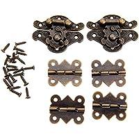 6個入りセット アンティーク調 ボックスバックル(2枚)&蝶番 蝶の形ヒンジ(4枚) ボックスラッチセット 装飾 手芸 手作り パーツ 金具 ネジに付き