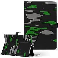 igcase KYT33 Qua tab QZ10 キュアタブ quatabqz10 手帳型 タブレットケース カバー レザー フリップ ダイアリー 二つ折り 革 直接貼り付けタイプ 013539 柄 黒 緑