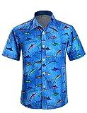 APTRO(アプトロ)アロハシャツ メンズ 通気速乾 超軽量 ゆったり プリント 夏 ファンション ハワイ 半袖シャツ HWS002 日本L(タグ M)
