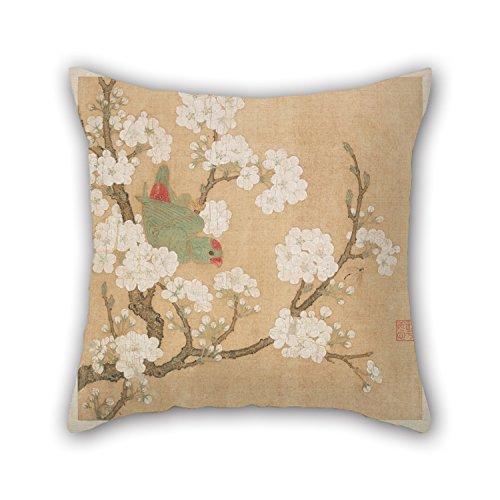 16x 16inch / 40を40cm油彩画Huang Jucai–オウムと昆虫among Pear Blossoms枕ケース、2Sidesオーナメントやギフトにデッキデッキ椅子、ソファ、バー、カーシート、椅子、オフィス