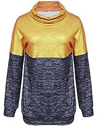 Jopinica スウェットシャツ レディース タートルネック ロングスリーブ ステッチング コントラストの色 セーター 元のデザイン 通学 通勤 秋冬 暖かい プルオーバー ファッションカジュアル 大きいサイズ パーソナライズド