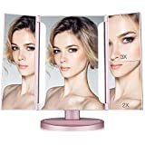 Easehold Lighted Makeup Mirror, 2X 3X Magnifiers Vanity Mirror with Upgraded Eye-Caring Lights Tri-Fold 180 Degree Adjustable Countertop Cosmetic Bathroom Mirror(Rose Gold)