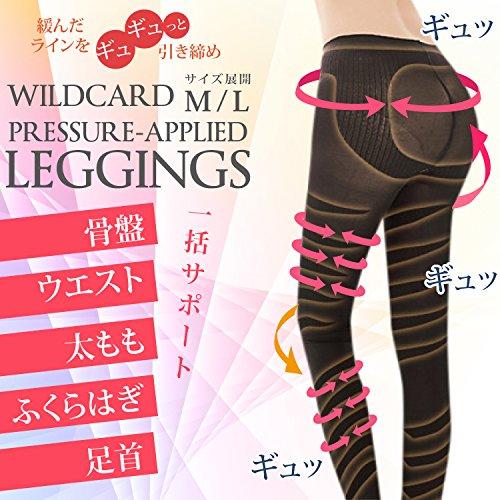 WILDCARD 着圧 脚やせ スパッツ 美脚 効果 骨盤矯正 加圧 補正下着 (L)