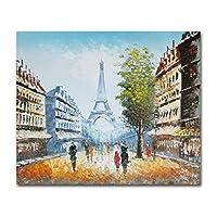 手描きのパリのエッフェル塔と街並みの油絵 20x24in(50x60cm)