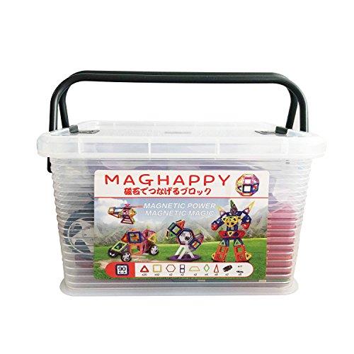 マグネットブロック 磁気おもちゃ 知育玩具 90ピース 日本...