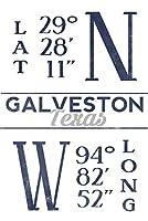Galveston , Texas–緯度と経度(ブルー) 9 x 12 Art Print LANT-68285-9x12