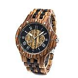 Bewell 木製腕時計 メンズ ウッド ウォッチ 天然木 腕時計 男性用 日付と曜日表示 多針アナログ 夜光 軽量耐水 記念日 贈り物(ゼブラウッドと黒檀)