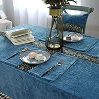プレースマット刺繍フランネルカップマットアメリカンファッションテーブルマット大プレートパッドボウルパッド断熱マットコットン4 (Color : Blue)