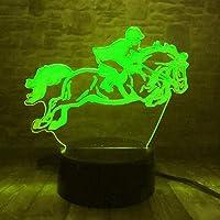 Llhydライディングマン3d led錯覚ライトナイトライト光学ベッドサイドテーブルナイトライト照明子供用ランプ睡眠照明7色変更装飾テーブルランプ