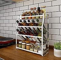 4層ステンレススチールスパイスラック、シルバーポータブルラック整理、スパイスオーガナイザー、キッチンラック収納、調味料ラック