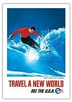 コロラド州のアスペン、州でスキー - ニューワールドトラベル - 是非、米国を訪問 - ビンテージな世界旅行のポスター c.1962 - 美しいポスターアート