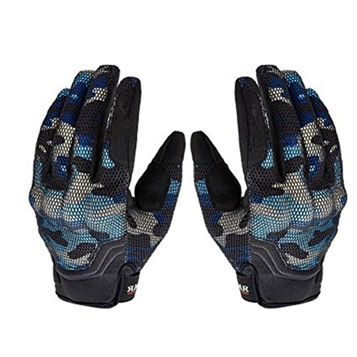 秀でる昇る衝突タッチスクリーンフルフィンガーオートバイ手袋オートバイクライミングハイキングハンティング釣り (色 : 青, サイズ : M)