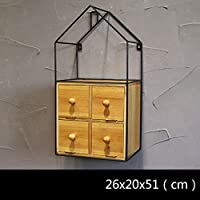 形状棚、北欧シンプルなアイアンアート木製ルームタイプセパレーター棚壁の創造性格子ホーム居間ソリッドウッド装飾サスペンション壁掛け (Size : S/20x15x40cm)