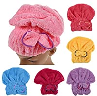 Red : 1PCS Home Textile Microfiber Solid Hair Turban Quickly Dry Hair Hat Wrapped Towel Bath 5 Colors Available