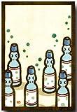 切り絵ポストカード 「なつかしラムネ」 夏のイラスト 暑中見舞いとしても 和道楽