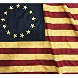 ANLEY® [Vintage Style] Tea Stained Betsy Ross Flag 3x5 Foot Nylon - Embroidered Stars and Sewn Stripes - 4 Rows of Lock Stitching - Antiqued Early USA Banner Flags with Brass Grommets 3 X 5 Ft