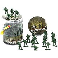 100個の玩具兵士のギフト/車/トラック/トラクター/おもちゃの銃のモデル - 緑の兵士 1:32
