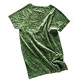 【ノーブランド 品】女性 ラウンドネック 半袖 メランジ Tシャツ ヨガ ジムトップ スポーツウェア 全4色2サイズ - M, グリーン