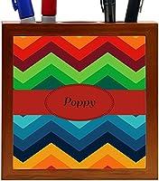 Rikki Knight Poppy Name on Fall Colors Chunky Chevron Design 5-Inch Tile Wooden Tile Pen Holder (RK-PH45453) [並行輸入品]
